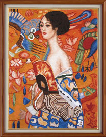 "X-134, ""Lady with the fan"" - Gustav Klimt The cross stitch kit contains: DMC cotton thread, 16 count cotton Aida Zweigart, needle, color chart and instructions. Size (26 � 34 cm)"